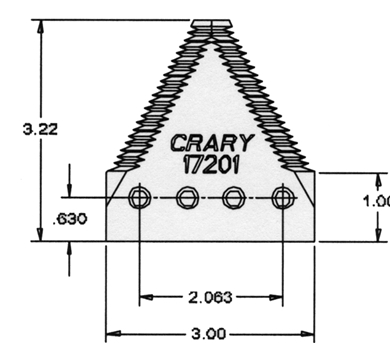 Picture of Section, big tooth for Crary Cutting Systems.