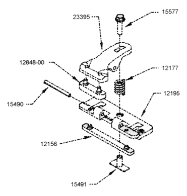 Picture of Adjustable hold down for Crary cutting systems.
