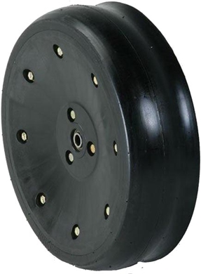 Picture of Gauge Wheel Assembly with nylon/steel rims, 5/8 hole for a bolt.