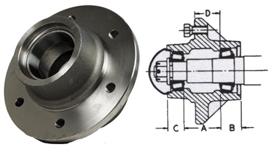 Picture of 6 Bolt Hub, 4910 lbs capacity.